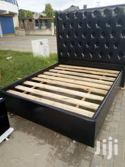 Black Leather Bed King Size Bed 6*6   Furniture for sale in Dar es Salaam, Kinondoni